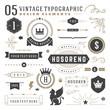 Vintage typographic design elements set vector illustration labels and badges, retro ribbons, luxury ornate logo symbols