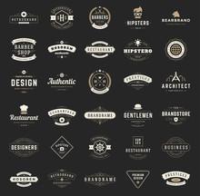 Retro Vintage Logotypes Or Insignias Set Vector Design Elements Typographic Signs