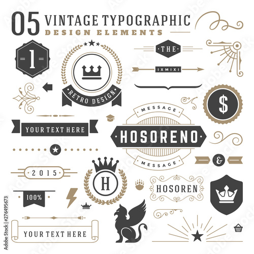 Fotografía  Vintage typographic design elements set vector illustration labels and badges, r