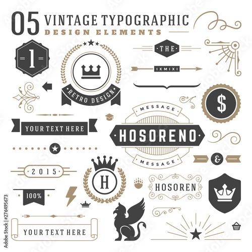 Valokuvatapetti Vintage typographic design elements set vector illustration labels and badges, r