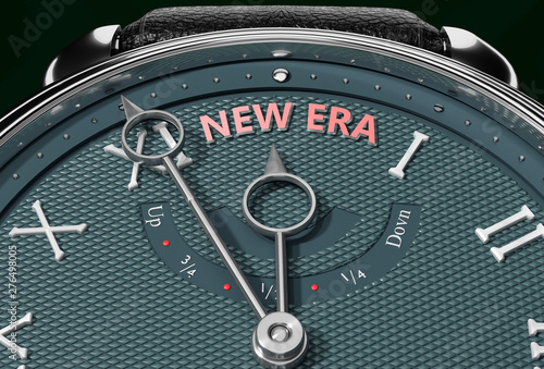 Achieve New_era, come close to New_era or make it nearer or reach sooner - a watch symbolizing short time between now and New_era Wallpaper Mural