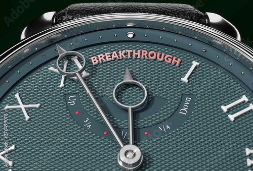Fotografie, Obraz  Achieve Breakthrough, come close to Breakthrough or make it nearer or reach sooner - a watch symbolizing short time between now and Breakthrough