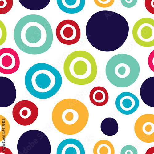 obraz lub plakat Seamless pattern, polka dot fabric, wallpaper, vector. Cheerful polka dot vector seamless pattern. Can be used in textile industry, paper, background, scrapbooking.