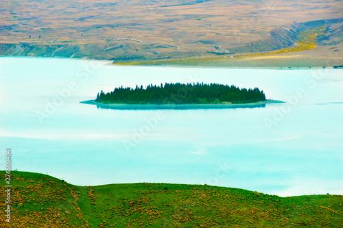 Motuariki Island on Lake Tekapo