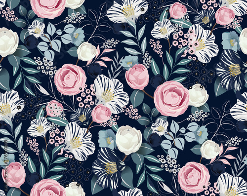 Vector illustration of a seamless floral pattern in spring for Wedding, anniversary, birthday and party Canvas Print