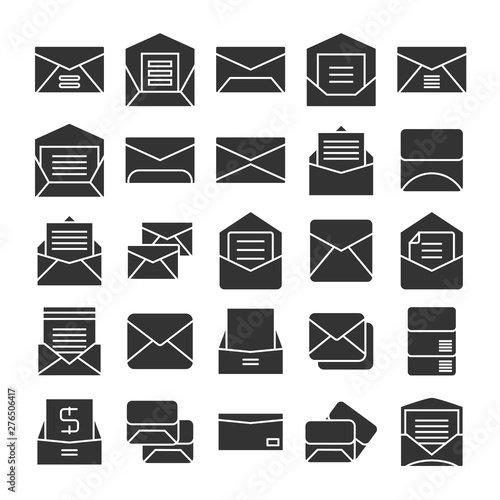 Fotografie, Tablou  email, mail, envelope and newsletter icons set