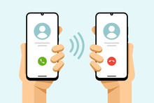 Smartphone Mockup In Human Hand. Accept And Decline The Phone Call. Call From Phone To Phone. Vector Colorful Technology Illustration