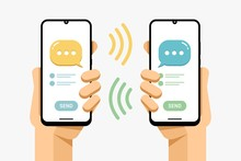 Smartphone Mockup In Human Hand. SMS Message Send From Phone To Phone. Group Chat Room . Vector Colorful Technology Illustration