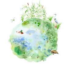 Watercolor Painting Pond - Com...