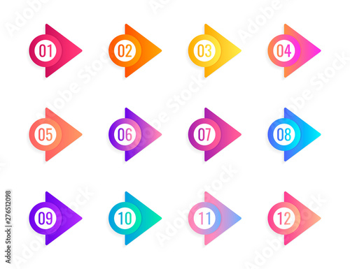Foto Super set arrow bullet point triangle flags on white background