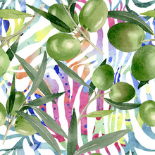 Olive Branch With Black And Green Fruit. Watercolor Background Illustration Set. Seamless Background Pattern.
