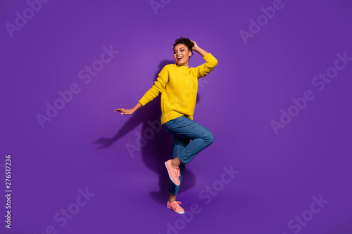 Full size photo of crazy stylish nperson party maker moving isolateed she her over violet purple background