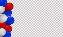 Design In National Blue, Red And White Colors With Realistic Balloons. Holiday, Festival Background.