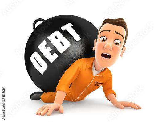 Obraz na plátně 3d prisoner crushing debt