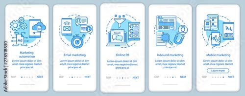 Fotografía Digital marketing tactics blue onboarding mobile app page screen vector template