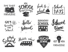 Back To School Calligraphic Letterings Set. Typographic Design. Calligraphy Lettering With School Elements Sketch Doodles. Hand Drawn Vector Illustration