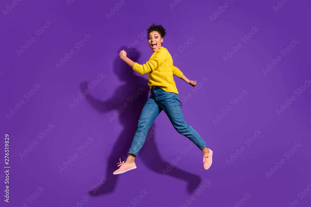 Fototapety, obrazy: Full length body size profile side view portrait of her she nice attractive funny cheerful cheery ecstatic carefree wavy-haired girl having fun isolated over bright vivid shine violet background