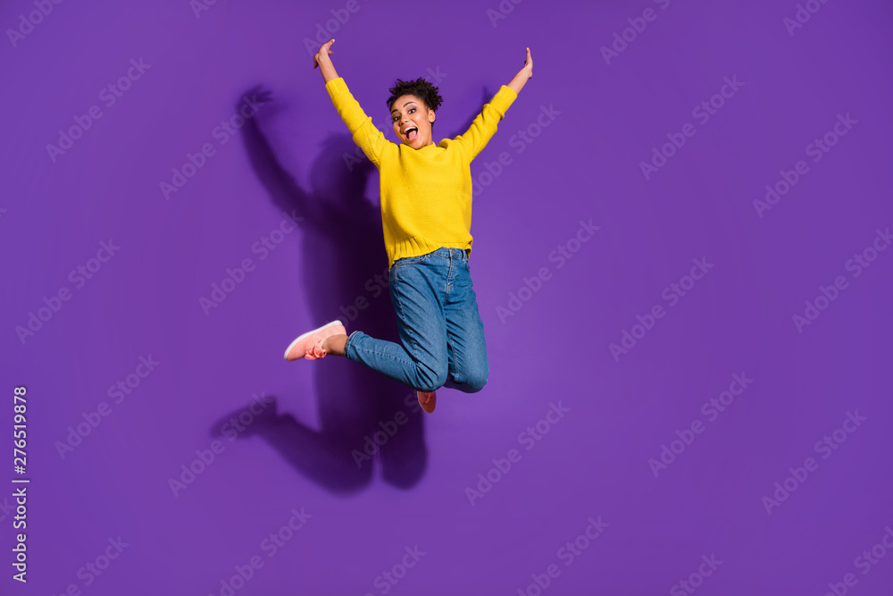 Fototapety, obrazy: Full length body size view portrait of her she nice lovely attractive funny ecstatic cheerful cheery free wavy-haired girl having fun freedom isolated over bright vivid shine violet background