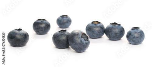 Photo  Blueberries macro isolated on white background