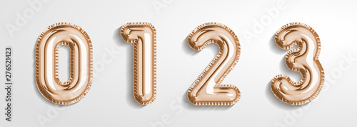 Obraz na plátně Soft rose Gold balloon number 0, 1, 2, 3 realistic 3d render air balloon