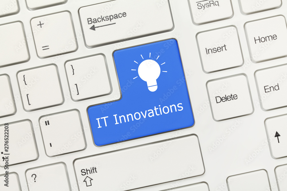 Fototapety, obrazy: White conceptual keyboard - IT Innovations (blue key)