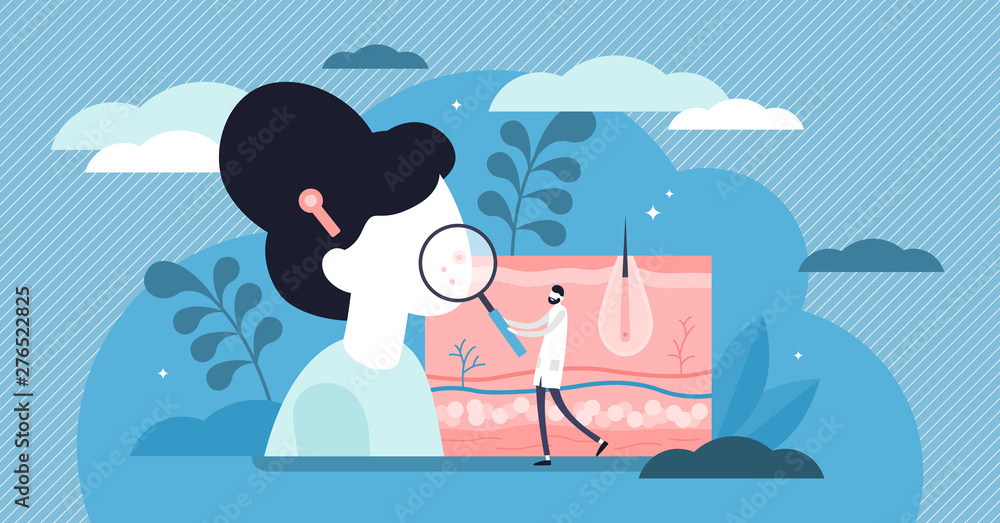 Fototapeta Dermatologist vector illustration. Flat tiny skin doctor persons concept.