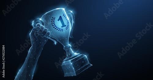 Vászonkép  Hand with Trophy cup