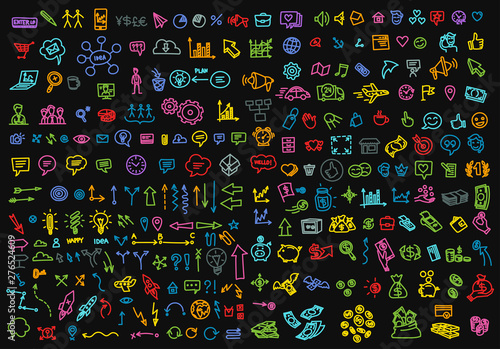 Big set colour business icons sketch outline line drawing by hand. Hand drawn collection vector. On a black background. - 276524609