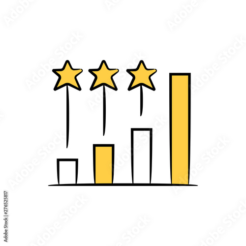 Fototapeta bar chart and star for ranking or benchmark yellow doodle theme