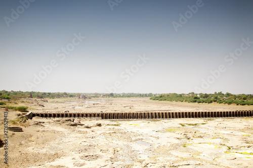 Dry riverbed in arid region of India Wallpaper Mural