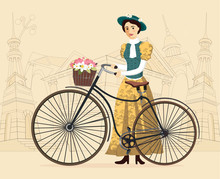 Elegant Lady With Hat In Vintage Costume On A Old Bicycle Vector Illustration Cityscape