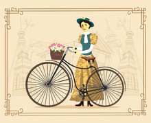 Elegant Lady On A Old Bicycle ...