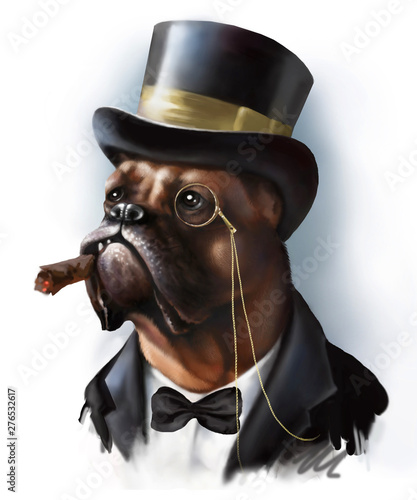 Digital portrait of a red dog breed boxer in the image of a rich millionaire aristocrat, dressed in a tuxedo and cylinder hat isolated on white Wallpaper Mural