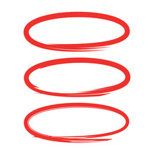 Oval Markers Red Hand Drawn Sketch Line Vector