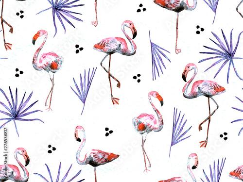 Canvas Prints Flamingo Bird Large flamingo red hawaiian seamless pattern.