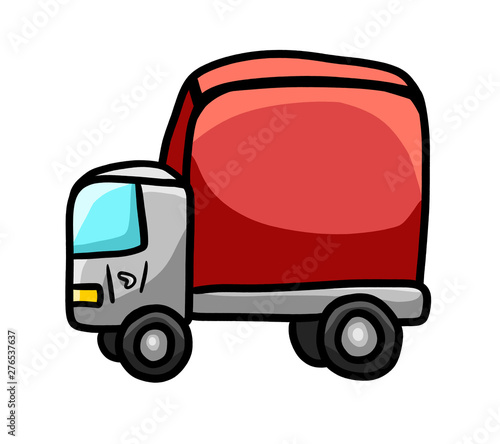 Foto op Canvas Cars Cartoon Stylized Red Toy Truck