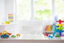 Little Boy Room. Toy Cars At Desk. Car Toys.