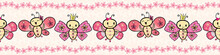 Cute Pink Hand Drawn Kawaii Style Dancing Butterflies Border With Floral Edging. Seamless Vector Pattern On Cream Flower Textured Background. Great For Stationery, Birthday, Party, Giftwrap, Fabric