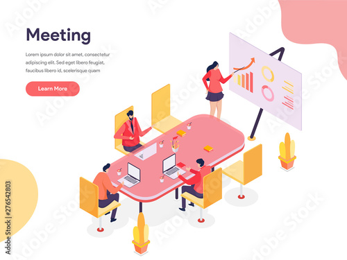 Meeting Room Isometric Illustration Concept Canvas Print