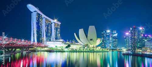Panorama of Singapore cityscape. beautiful business modern building skyscraper around Marina bay at night. landmark and popular for tourist attractions : Singapore, 9 May 2019