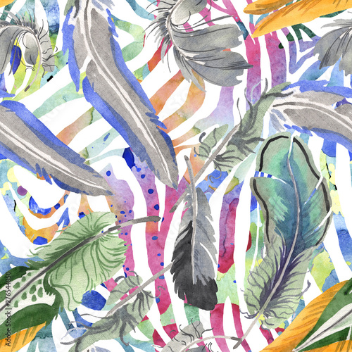 Spoed Foto op Canvas Paradijsvogel Watercolor bird feather from wing isolated. Aquarelle feather for background. Seamless background pattern.