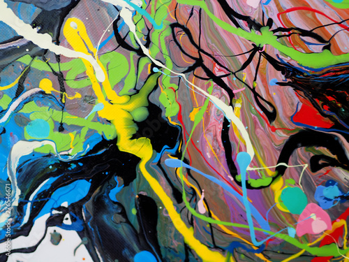 Foto op Canvas Draw colorful oil paint multi colors abstract background.