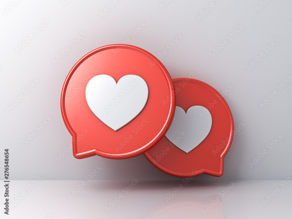 Fototapety, obrazy: 3d social media notification love like heart icons on red round speech bubbles isolated on white color wall background with shadows and reflections 3D rendering