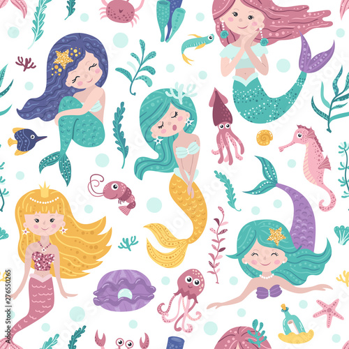 Seamless pattern with cute mermaids, seaweed and fishes Poster Mural XXL