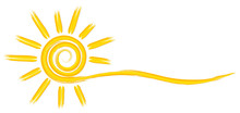A Symbol Of The Bright Summer Sun With Beams.