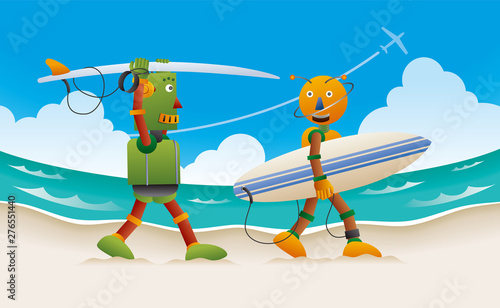 サーフボードを抱えて砂浜を歩く2体のロボットサーファー