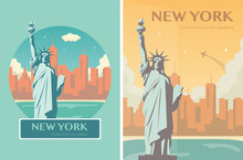 Statue Of Liberty Banner Set. ...