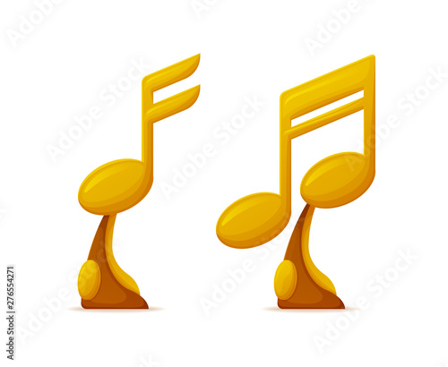 Note shaped music awards, gold trophy cups vector  Musical art