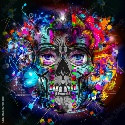 Human skull with colorful spots on white background