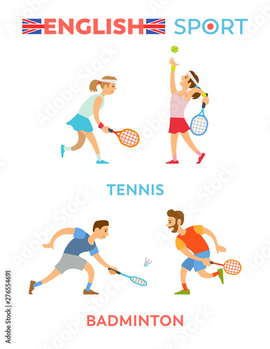 Fototapeta  English sport vector, tennis and badminton players people wearing special uniform, flat style isolated playing youth